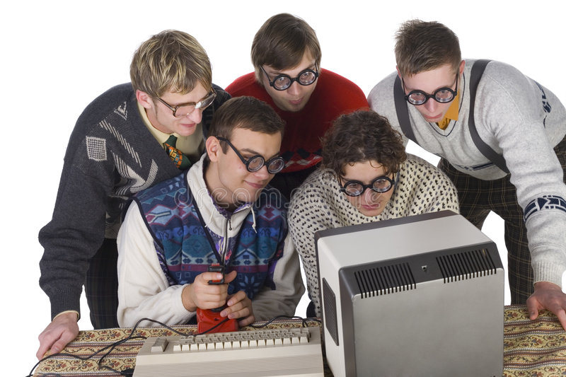 Cool game!. Five nerdy guys playing on old-fashioned computer. They are enjoying it. Front view, white background stock image