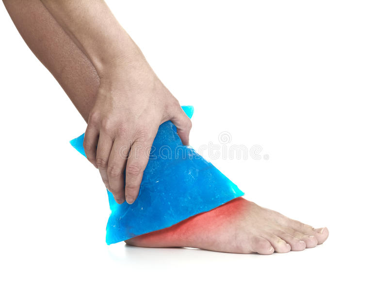 Download Cool Gel Pack On A Swollen Hurting Ankle. Stock Photo - Image: 28624444