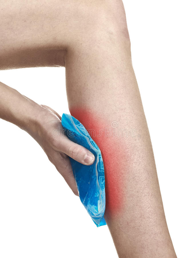 Download Cool Gel Pack On A Swollen Hurting Calf. Stock Photo - Image: 28624432