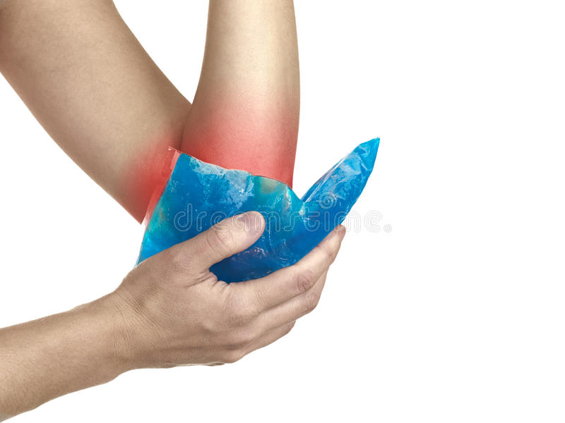 Download Cool Gel Pack On A Swollen Hurting Elbow. Stock Photo - Image of hurt, physical: 28624450