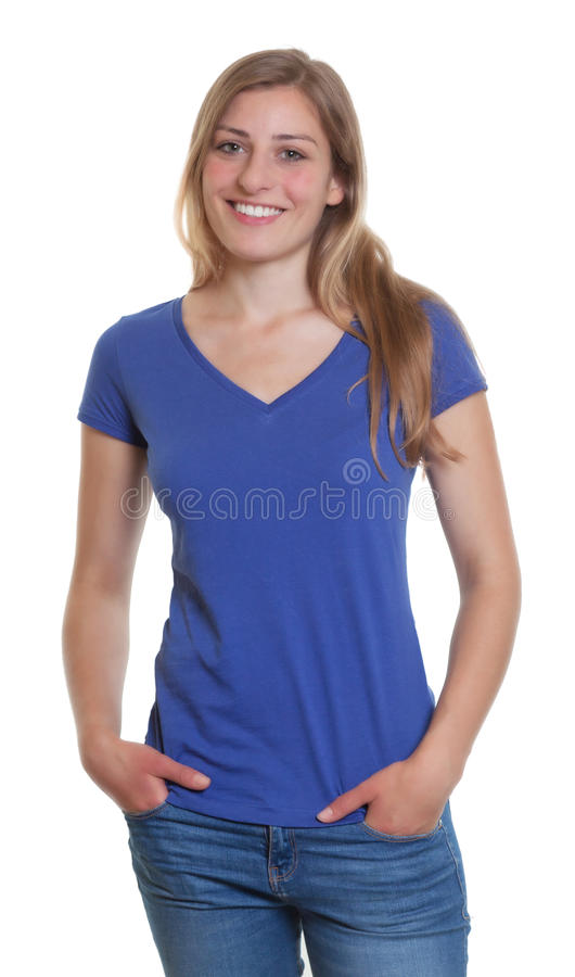 Cool german woman in a blue shirt looking at camera. On an isolated white background for cut out stock photography