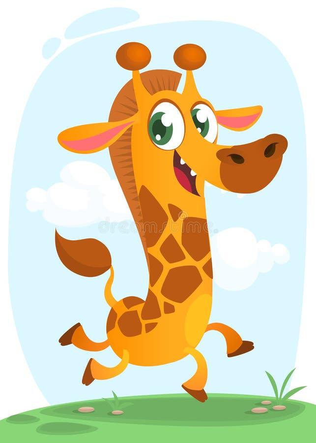 Cool giraffe running. Cartoon vector illustration of excited giraffe running over a simple savanna background. royalty free illustration