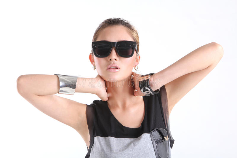 Download Cool girl with Sunglasses stock image. Image of female - 25074141