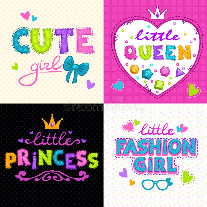 Cool girlie t shirt print set. Vector girlish backgrounds stock illustration