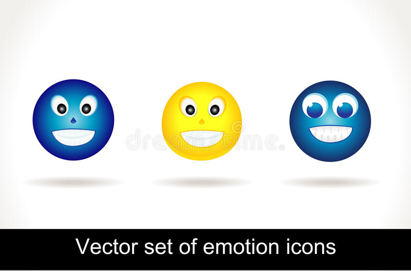 Cool glossy Emoticon icon set stock image