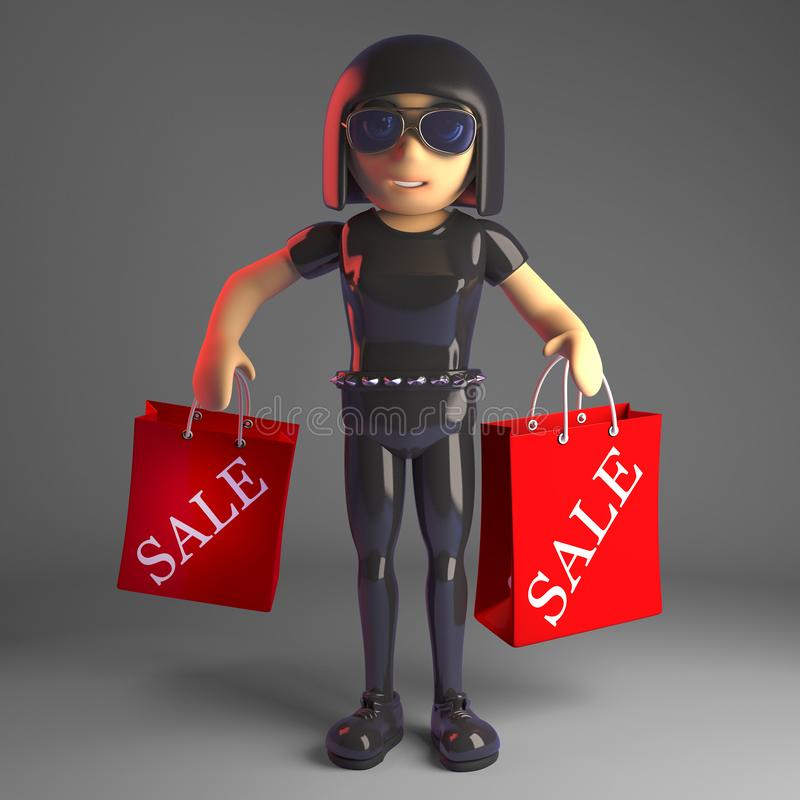 Cool gothic girl in leather catsuit carrying sale shopping bags, 3d illustration. Rendered image of a cool gothic girl in leather catsuit carrying sale shopping royalty free illustration