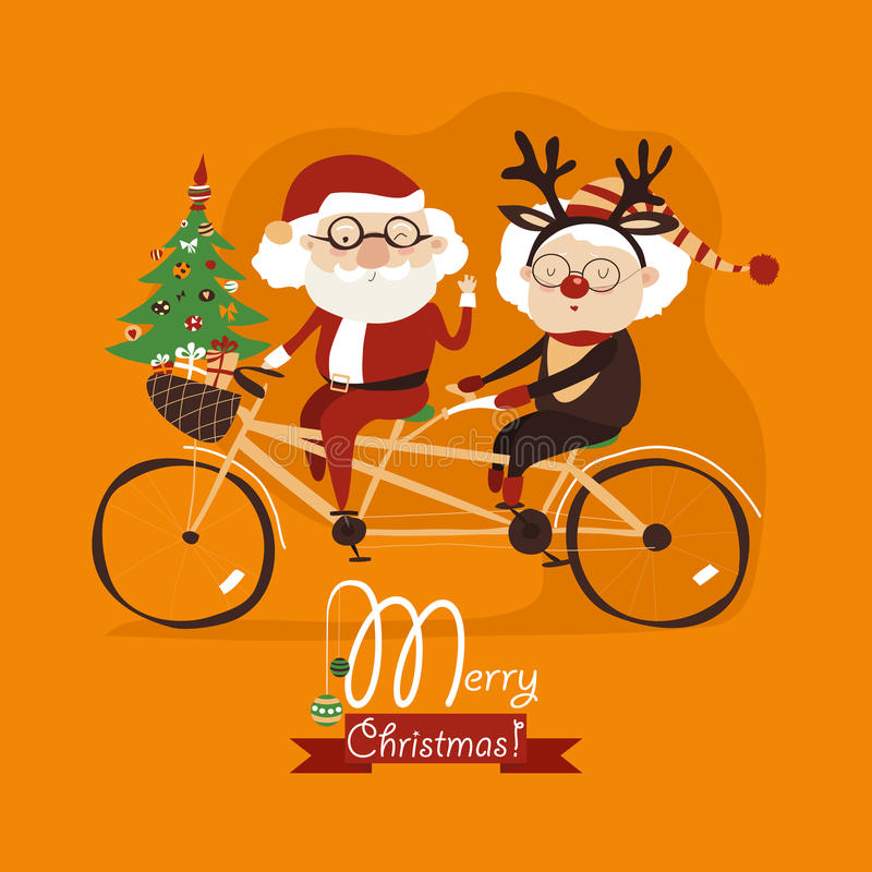 Cool grandma with grandpa as santa claus and reindeer riding a bicycle tandem royalty free illustration
