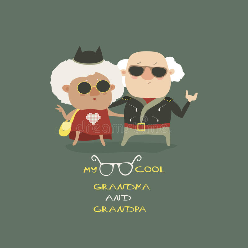 Cool grandma and grandpa wearing in leather jacket. Vector illustration stock illustration