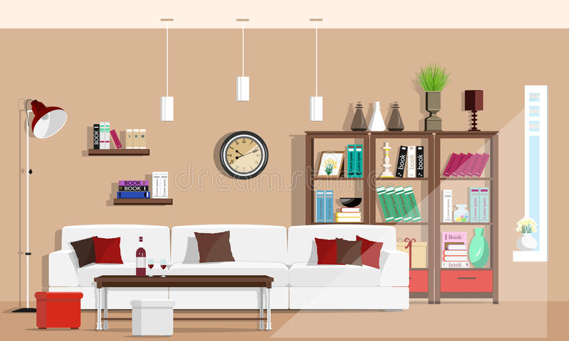 Cool graphic living room interior design with furniture: sofa, chairs, bookcase, table, lamps. Flat style royalty free illustration