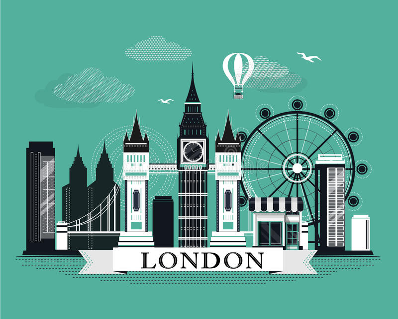 Cool graphic London city skyline poster with retro looking detailed design elements. London landscape with landmarks vector illustration