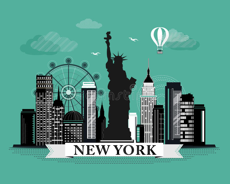 Cool graphic new york city skyline poster with retro for Landscape design new york