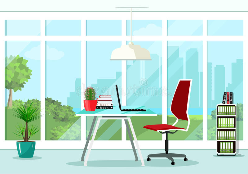 Cool graphic office room interior design with great window and furniture: chair, table, bookcase, lamp. Flat style vector illustration stock illustration