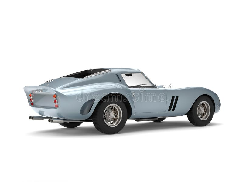 Cool gray blue vintage sports car. Isolated on white background vector illustration