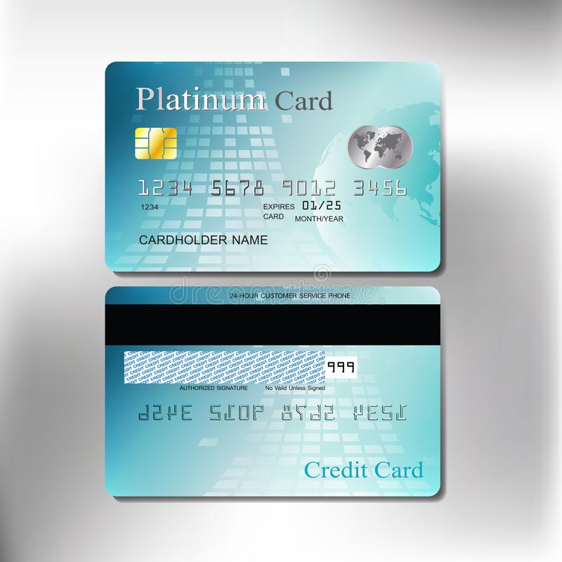 Cool green color front and back realistic credit or debit card stock images