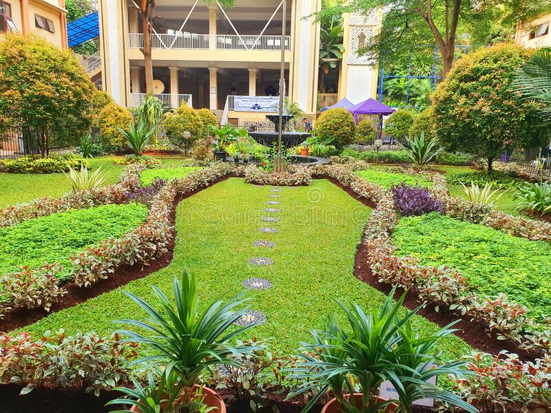 Cool green park in the campus yard of Unindra PGRI in South Jakarta, Indonesia stock images