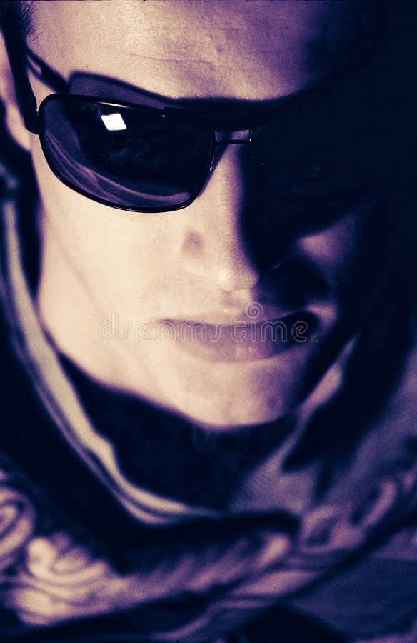 Cool guy. Young man with sunglassesgroove atmosphere stock images