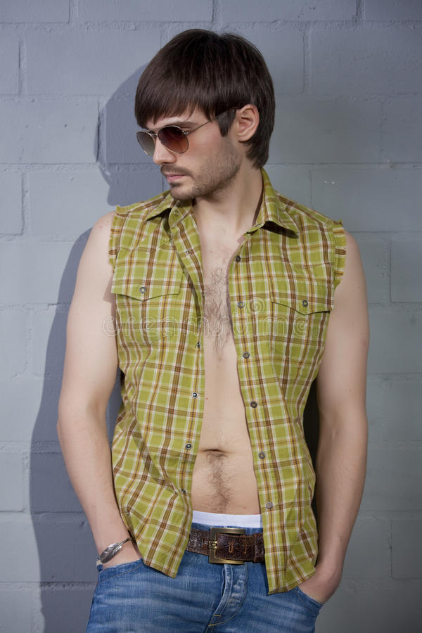 Cool Guy With Open Shirt Royalty Free Stock Photo