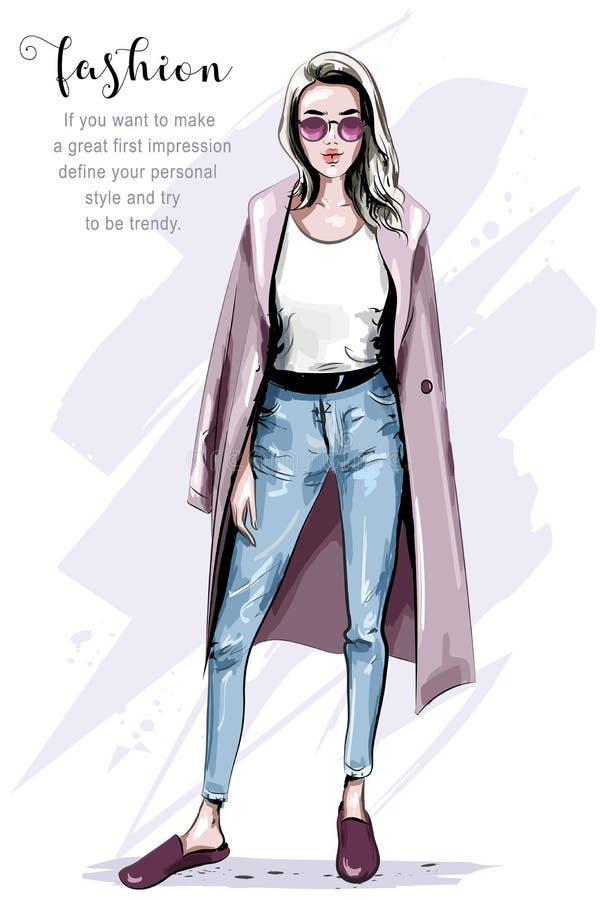 Cool hand drawn fashion woman in coat. Stylish beautiful woman in sunglasses. vector illustration
