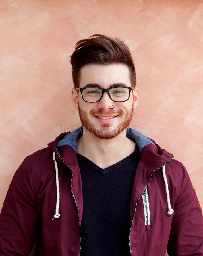 Cool handsome guy with glasses stock photos