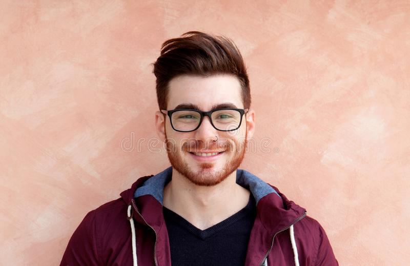 Cool handsome guy with glasses stock photo