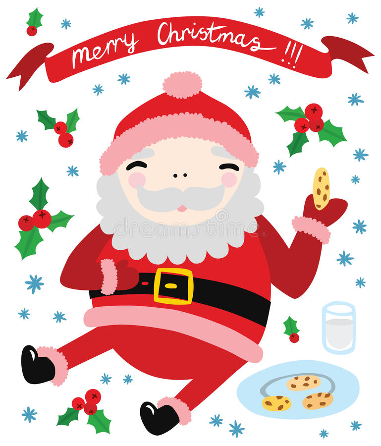 Cool Happy Santa Eating Cookies vector illustration