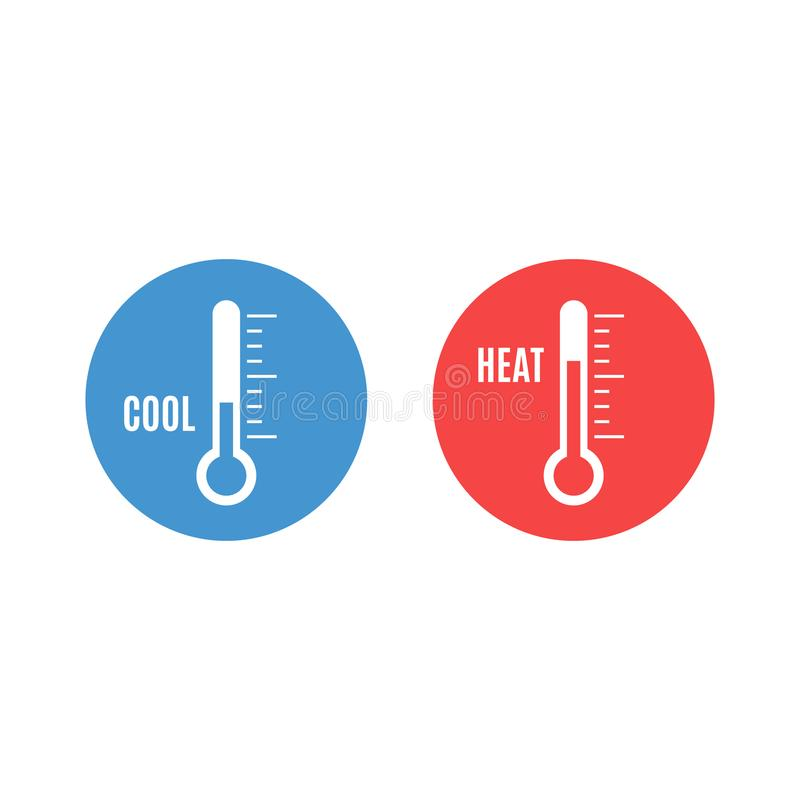 Cool and heat stickers stock illustration