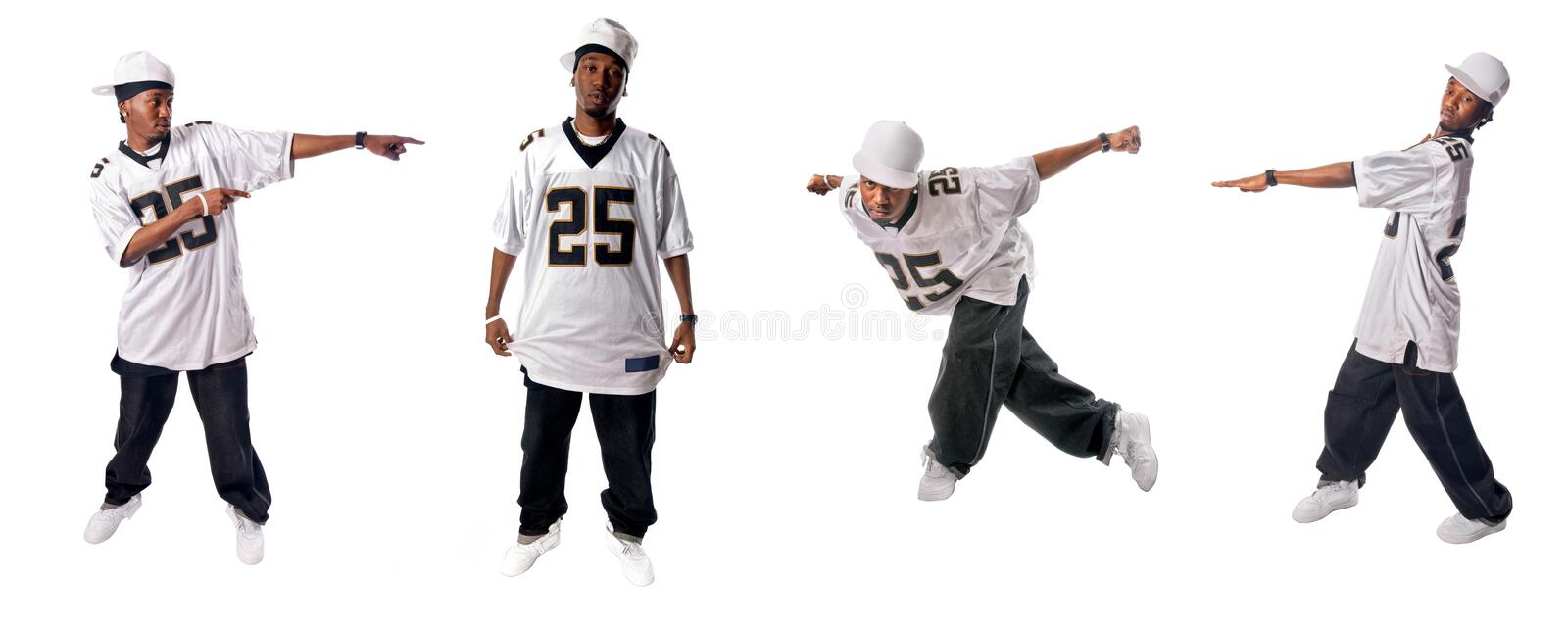Cool hip-hop dancers. Cool young hip-hop dancers on white background stock photos