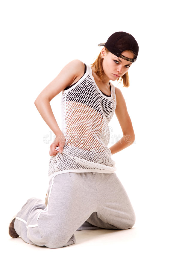 Cool Hip Hop Girl Standing On Her Knees Royalty Free Stock Image