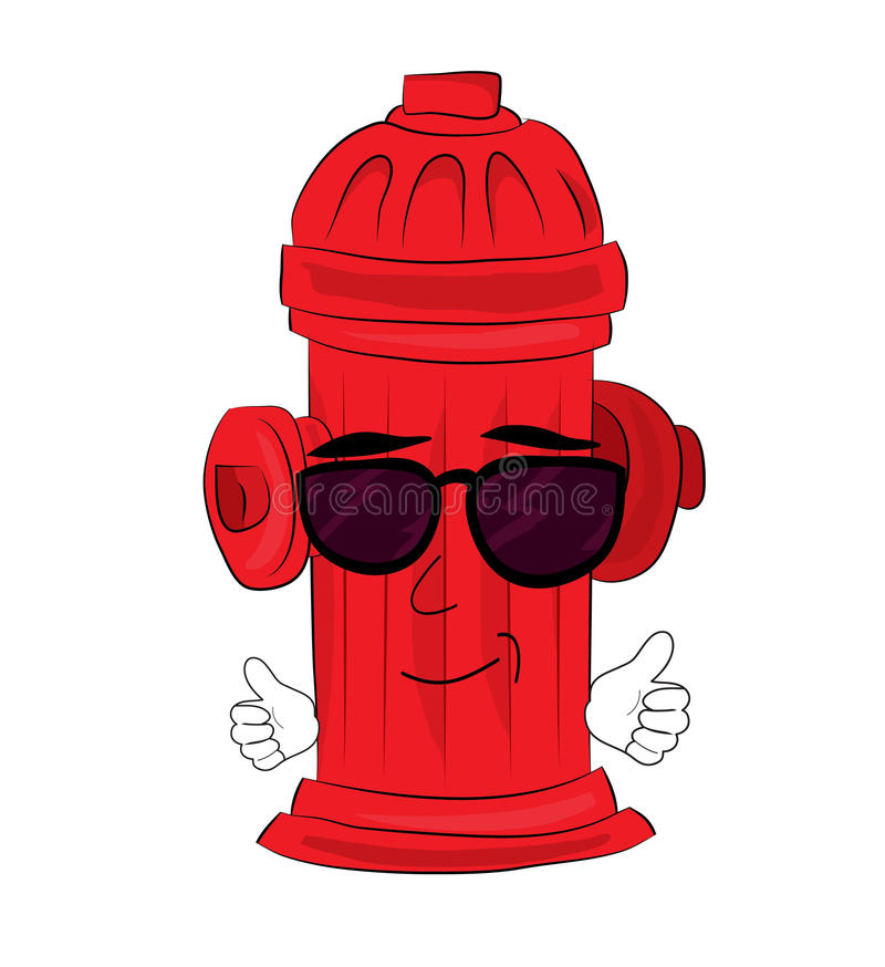 Cool hydrant cartoon. Vector illustration of cool hydrant cartoon stock illustration