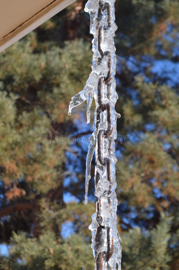 Download Cool Icicles On A Drip Chain Stock Image - Image of green, snow: 84138411