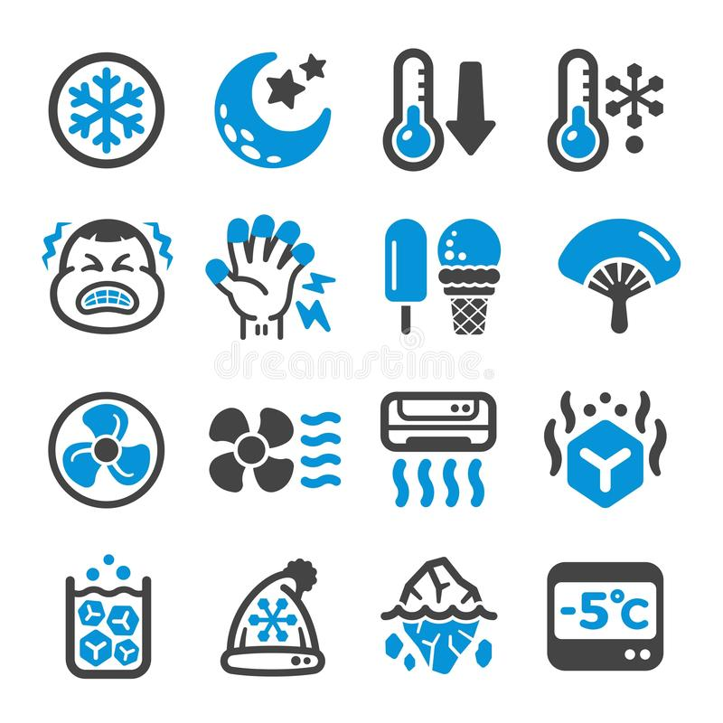 Cool icon set. Cool,cold icon set,vector and illustration royalty free illustration