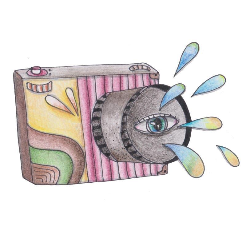 Cool illustratie van camera voor uw afdruk, sticker stock illustratie