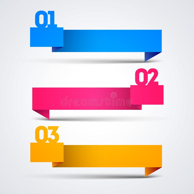 Infographic template with origami banners arrows 3 options for presentations, advertising, layouts, annual reports, web design. Cool infographic template with royalty free illustration