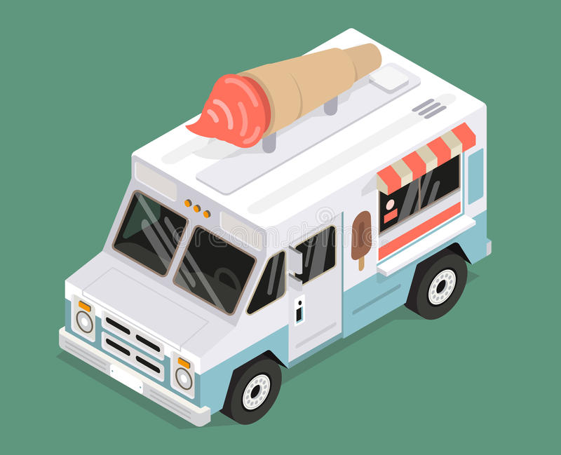 Cool isometric ice cream van vector illustration royalty free stock photography