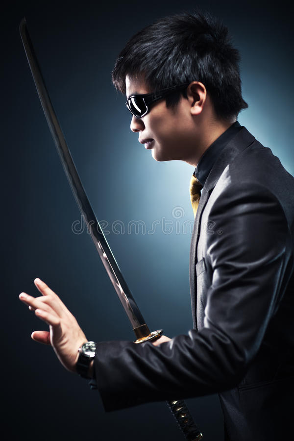 Cool Japanese With Sword Stock Image