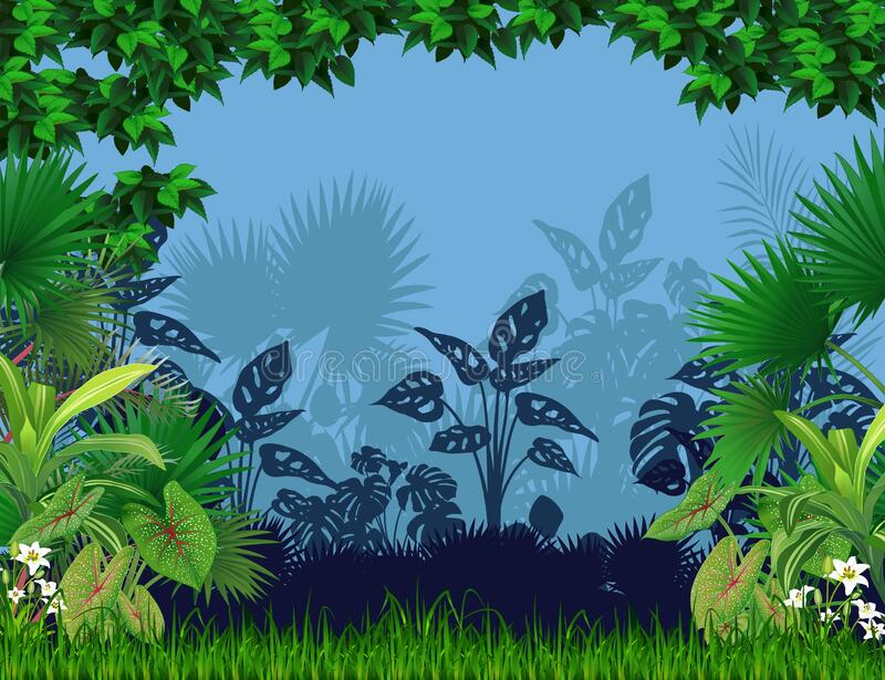 Cool Landscape Forest With Silhouette of Plant Cartoon. For your design royalty free stock images