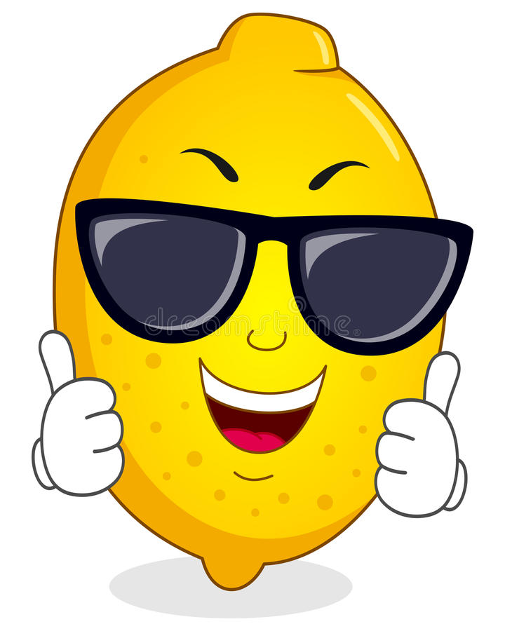 Cool Lemon Character with Sunglasses. A cool cartoon happy lemon character smiling with thumbs up, isolated on white background. Eps file available royalty free illustration