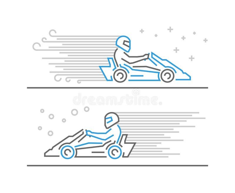 Cool line go kart and karting symbol vector illustration