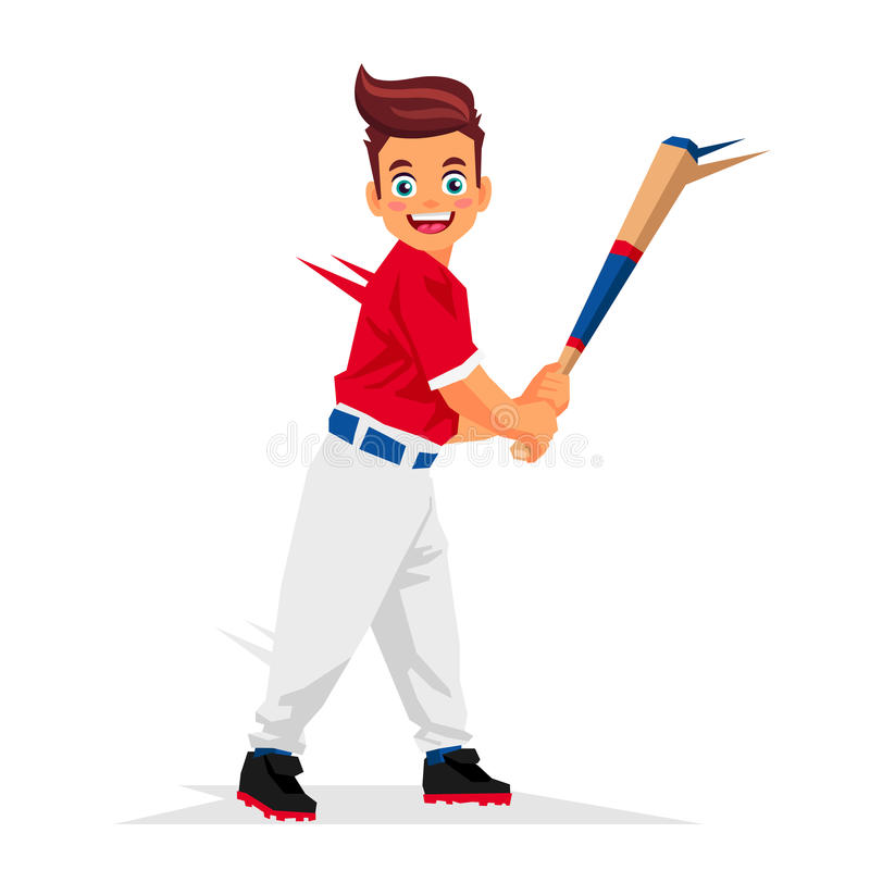 Cool little baseball player vector illustration