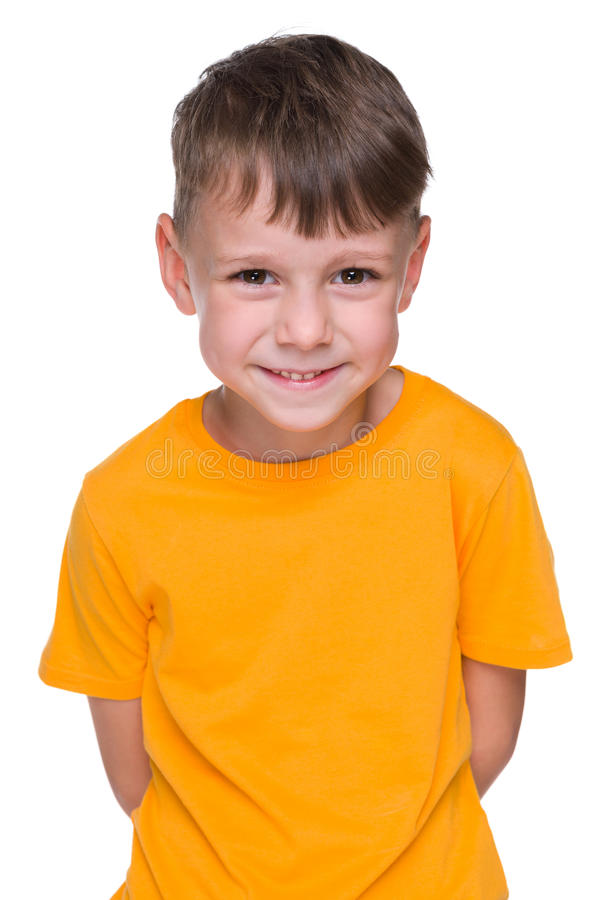 Cool little boy in the yellow shirt royalty free stock photo