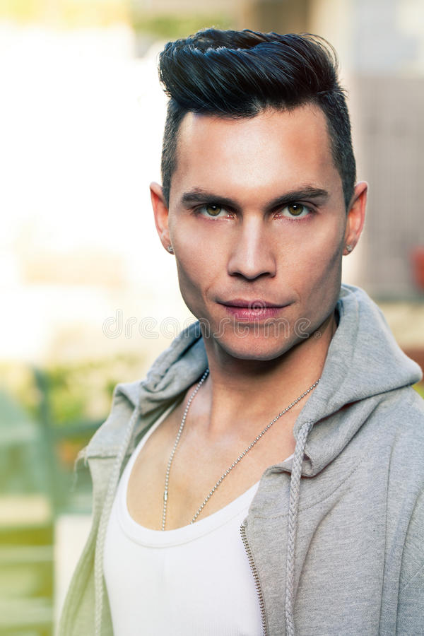 Download Cool Look Portrait Modern Young Man, Stylish Hair Cut Stock Photo    Image Of