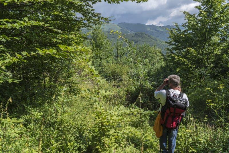 Cool mężczyzna w górach Nieprawdopodobny widok Troyan Bałkański Góra zniewala z swój pięknem, świeże powietrze fotografia stock
