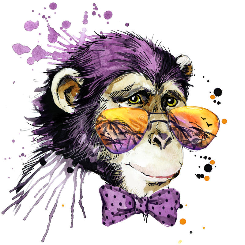 Cool małpie koszulek grafika małpia ilustracja z pluśnięcia akwarela textured tłem niezwykły ilustracyjny akwarela michaelita royalty ilustracja