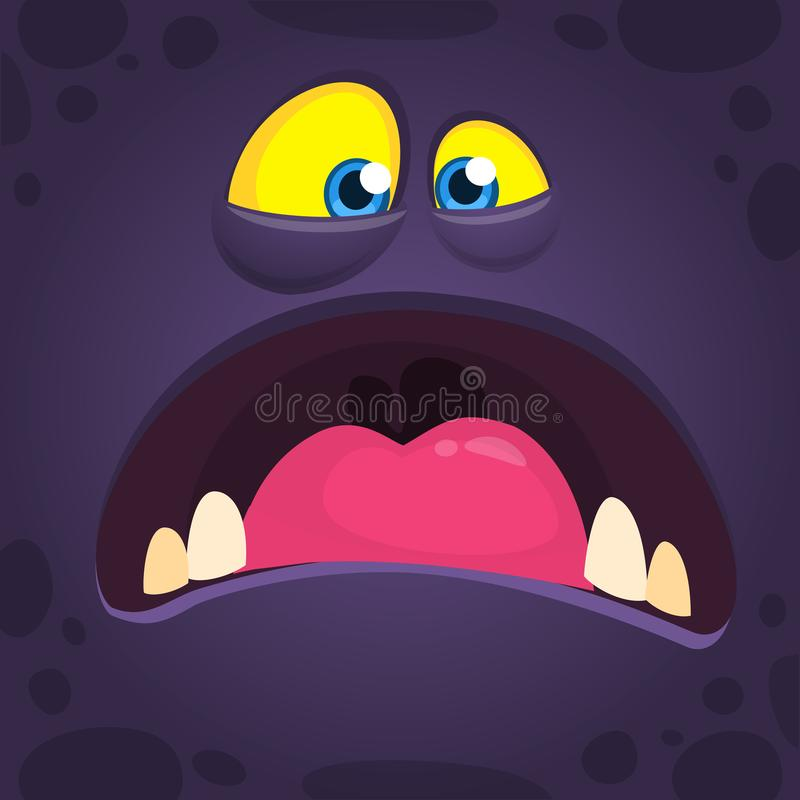 Cool mad cartoon monster face with big mouth. Vector Halloween black monster screaming. Design for print, t-shirt, party decoration, sticker or children book royalty free illustration