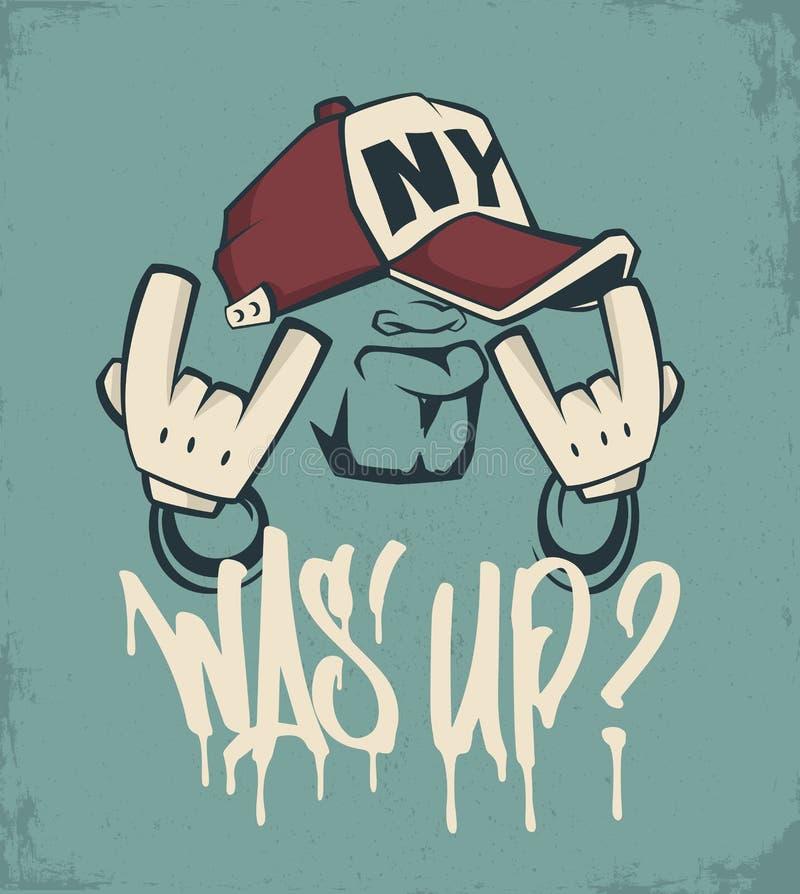 Cool man in cap, hip hop face vector print design.  vector illustration