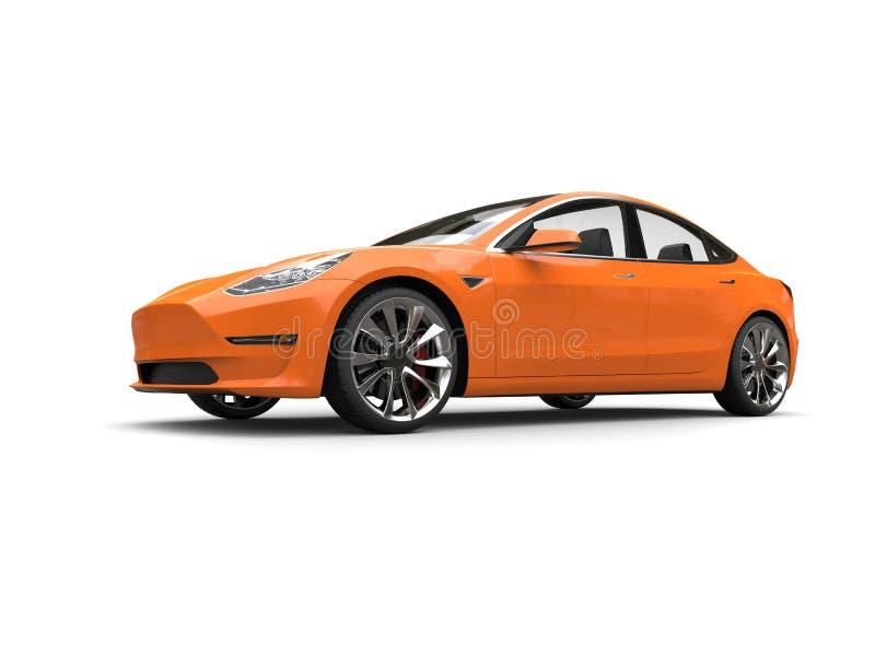 Cool modern electric car - heat wave orange paint vector illustration