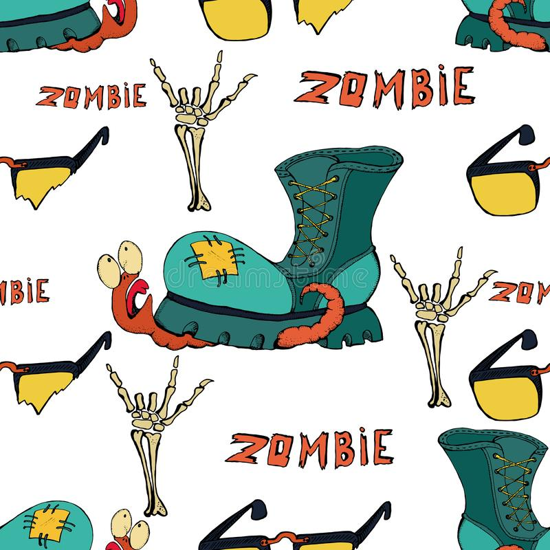 Cool modern hand drawn patterns for teens with a zombie. Seamless backgrounds for the design of textiles, phone covers, web sites. Gift wrapping, notebooks, t stock illustration