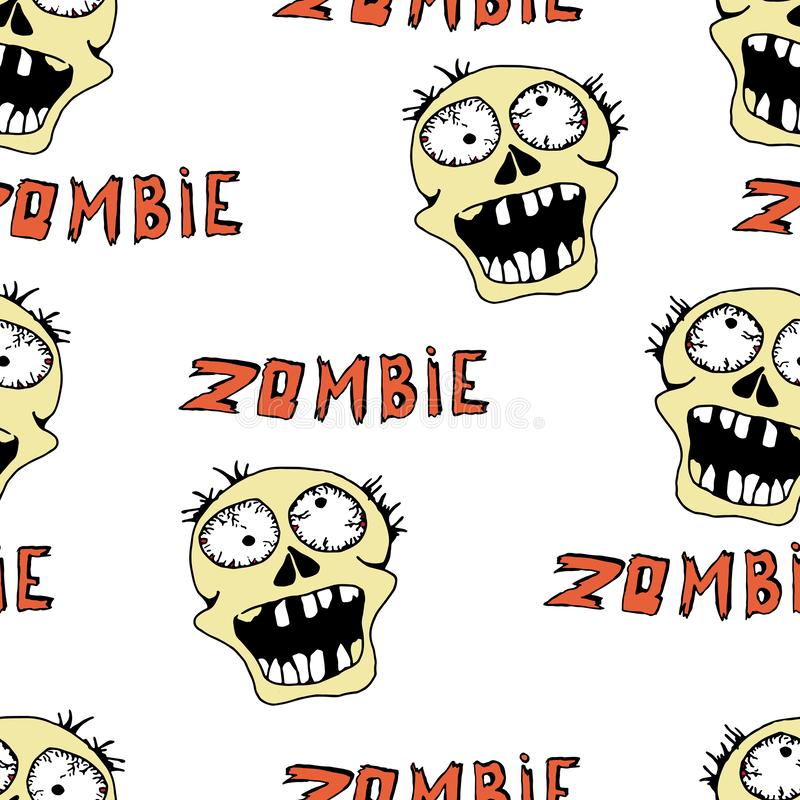 Cool modern hand drawn patterns for teens with a zombie. Seamless backgrounds for the design of textiles, phone covers, web sites. Gift wrapping, notebooks, t royalty free illustration