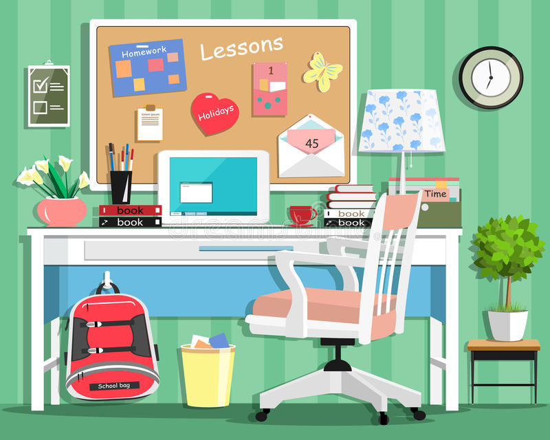 Cool modern teenager room with workplace: table, chair, board, lamp, school bag, laptop, stationery and books. Flat style. royalty free illustration