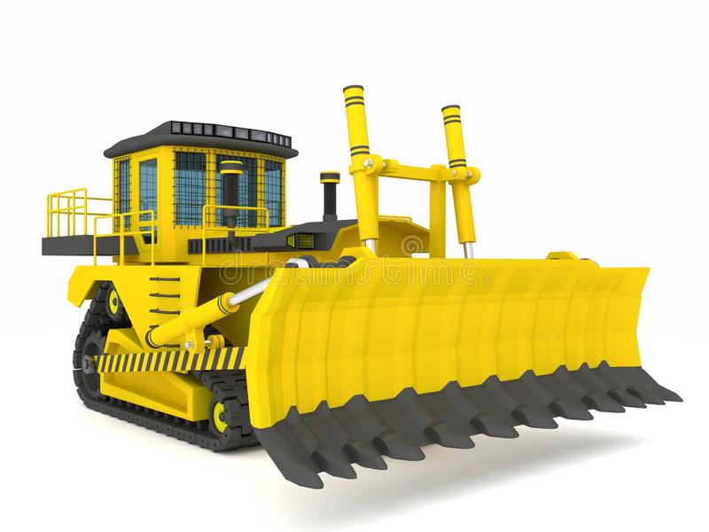 Yellow black crawler tractor with scoop 3d illustration, 3d render stock images